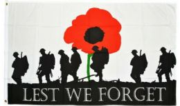 5ft x 3ft Polyester Lest We Forget Army Soldier Poppy Remembrance Flags 100D
